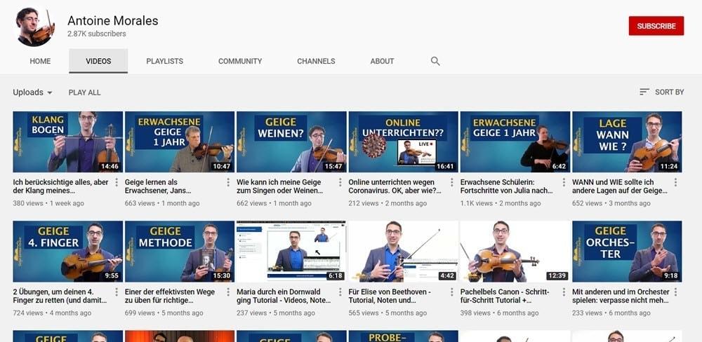 Geige lernen YouTube Videos